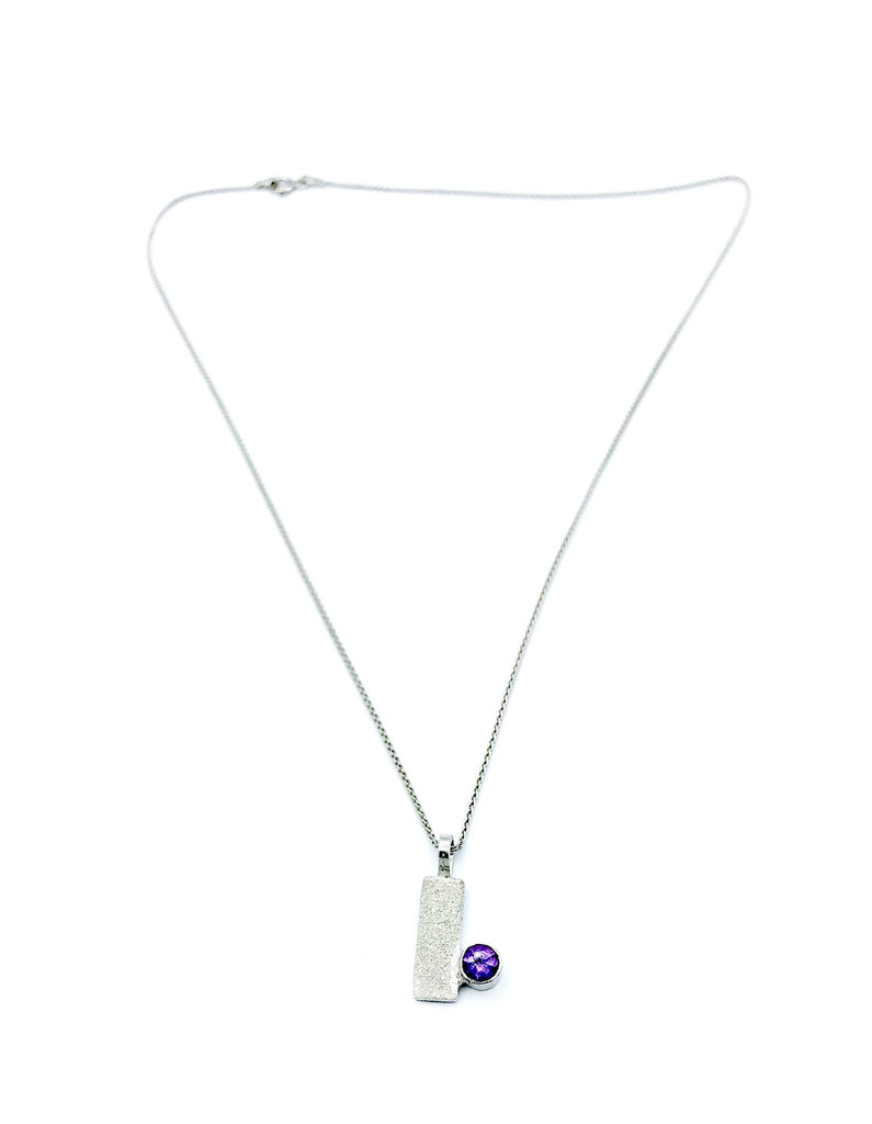 Amethyst silver pendant textured geometric pendant silver chain - Handmade with love from Greece