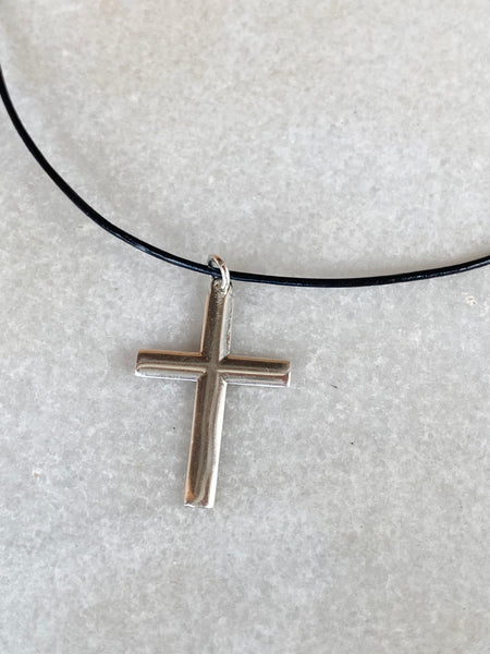 Silver cross necklace modern silver cross