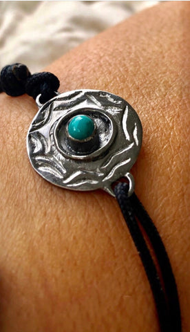 Men's evil eye bracelet with turquoise gemstone