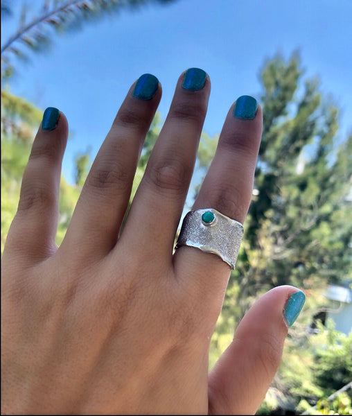 wide silver ring with turquoise gemstone silver ring