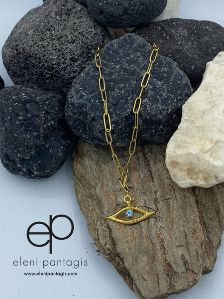 gold evil eye necklace handmade blue gemstone gold