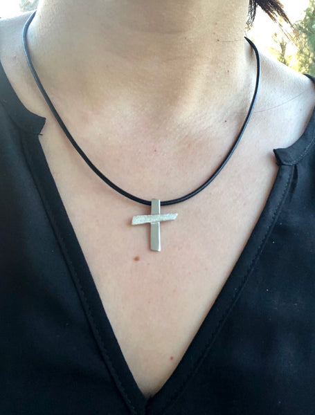 Silver cross necklace with leather rope, textured silver cross, silver cross pendant