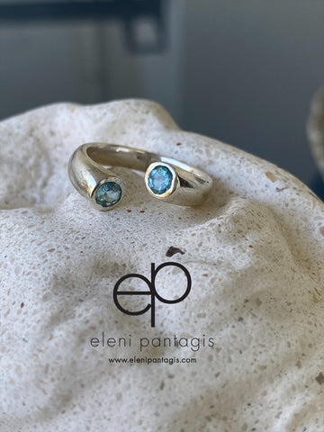 Blue topaz ring silver adjustable silver ring
