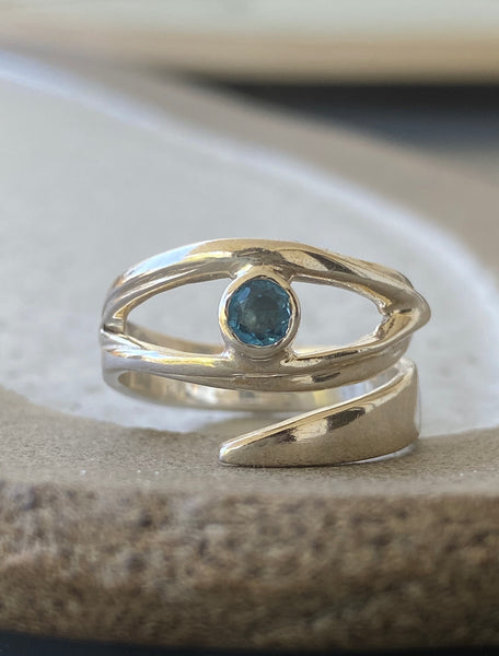 Evil eye ring, November birthstone ring, topaz silver ring