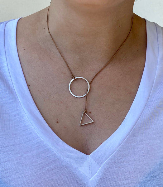 Circle and Triangle Lariat y necklace silver