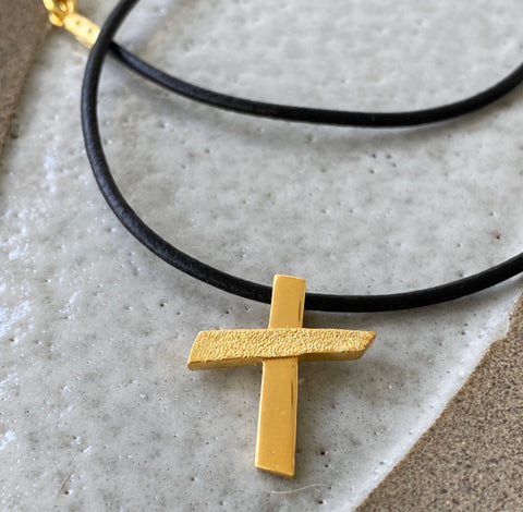 gold cross, abstract cross modern cross with leather cord