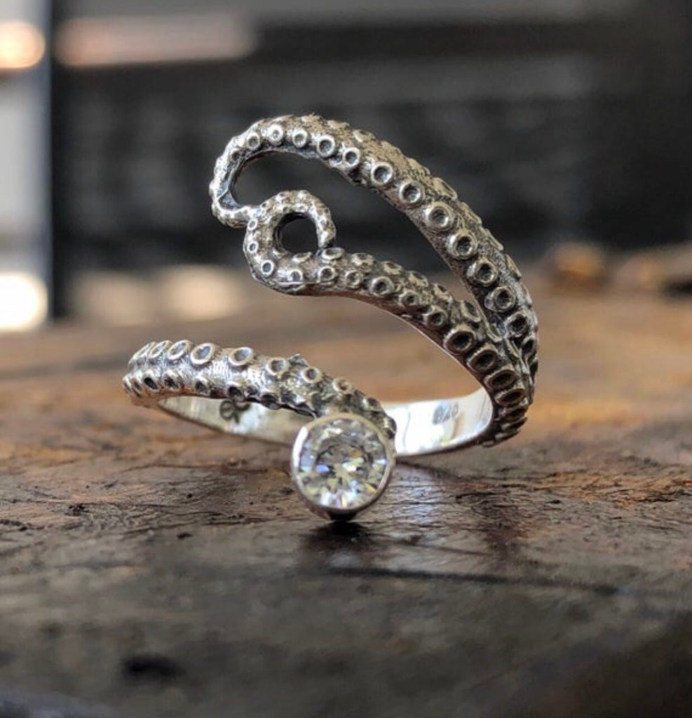Octopus ring, sterling silver tentacle ring with zircon gemstone