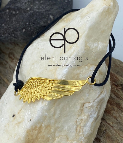 Gold angel wing bracelet adjustable