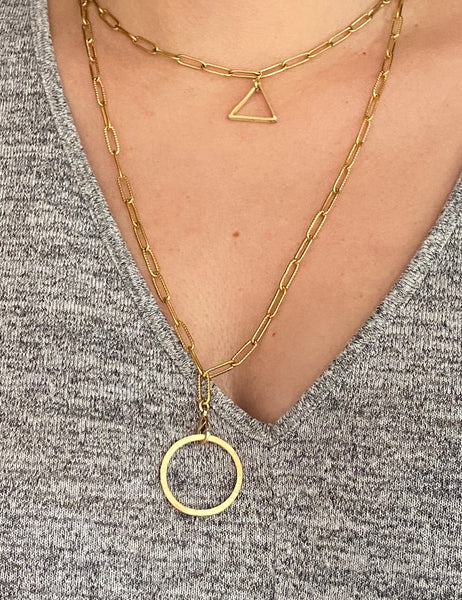 Gold triangle necklace paper clip chain choker gold layered necklace