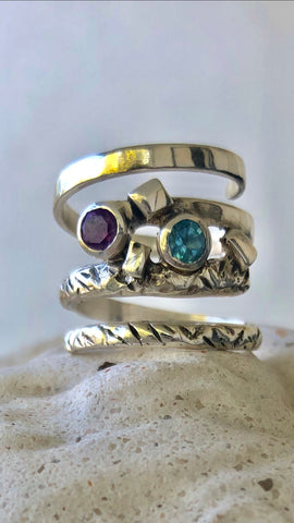 Spiral ring, multi gemstone ring, blue topaz and amethyst gemstone sterling silver ring