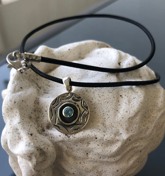 Evil eye necklace, evil eye with blue topaz gemstone