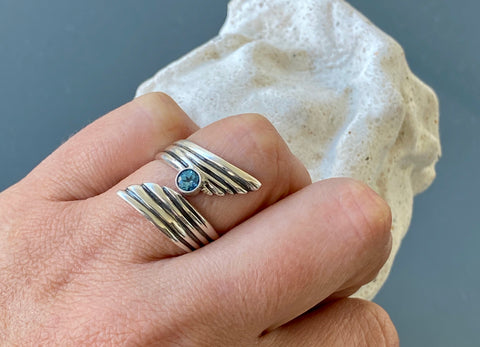 Blue gemstone ring silver, adjustable silver ring