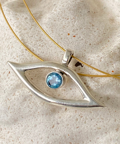 Evil eye necklace, evil eye with blue gemstone jewelry