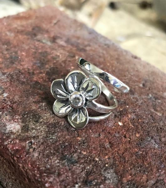 Flower ring silver, zircon gemstone flower ring