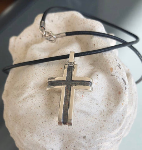 Men's cross necklace, leather cord, black silver cross pendant