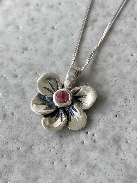 flower pendant, pink tourmaline silver necklace, poppy flower necklace