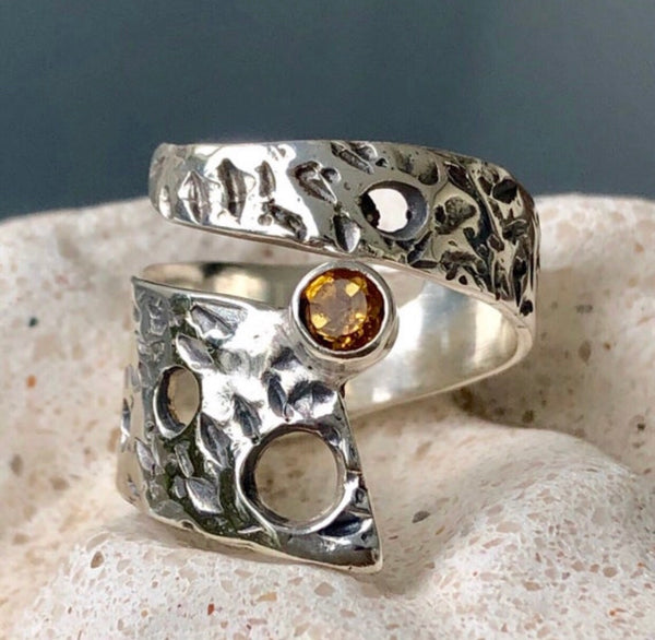 Citrine ring, silver adjustable ring, citrine ring silver
