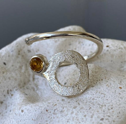 circle ring, Citrine silver ring adjustable November birthstone yellow stone ring