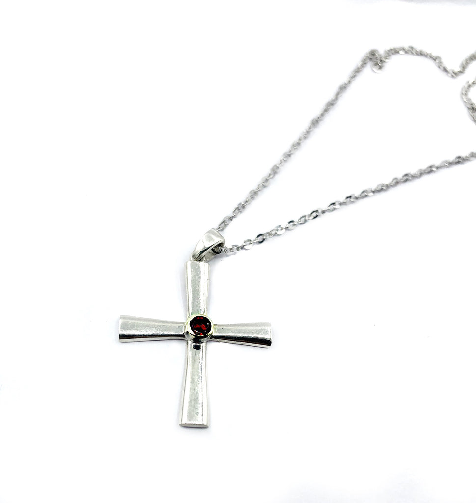 silver crosses - byzantine cross with red stone - silver cross with red stone