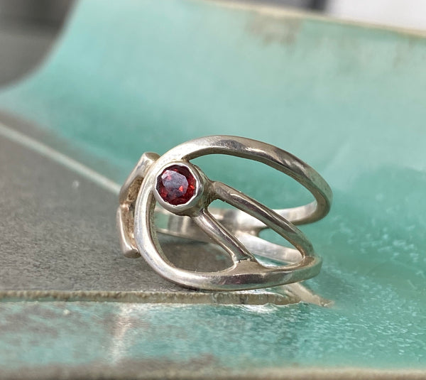 red garnet silver ring, red stone ring, modern silver ring