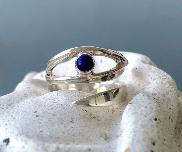 Evil eye ring, blue lapis lazuli ring silver
