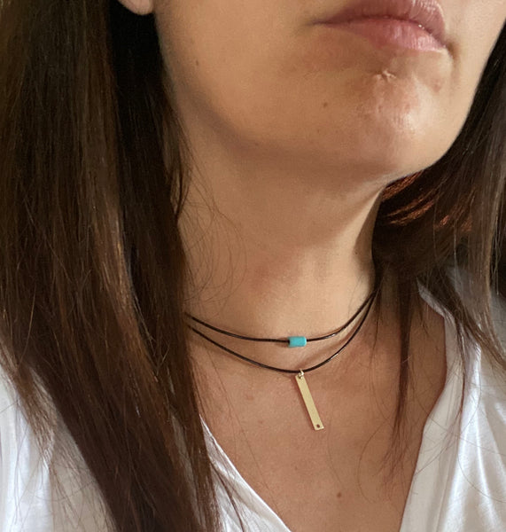 Silver bar chocker black leather necklace with turquoise stone