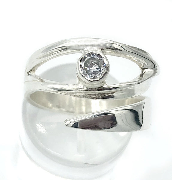 eye ring, silver eye ring, zircon ring, evil eye ring, silver eye ring with clear stone ring