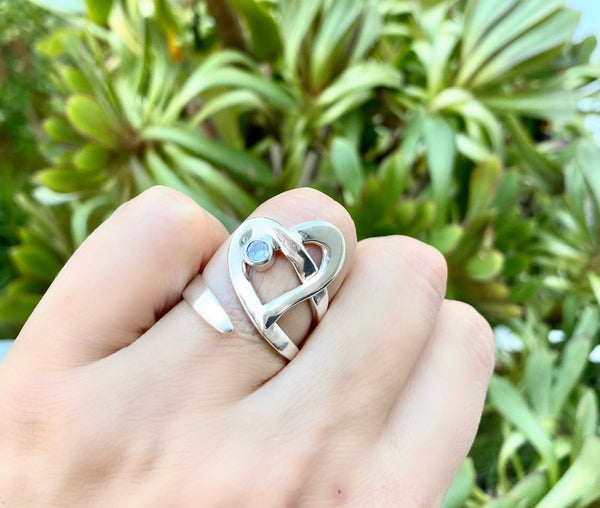 Silver heart ring, heart ring zircon gemstone, adjustable ring