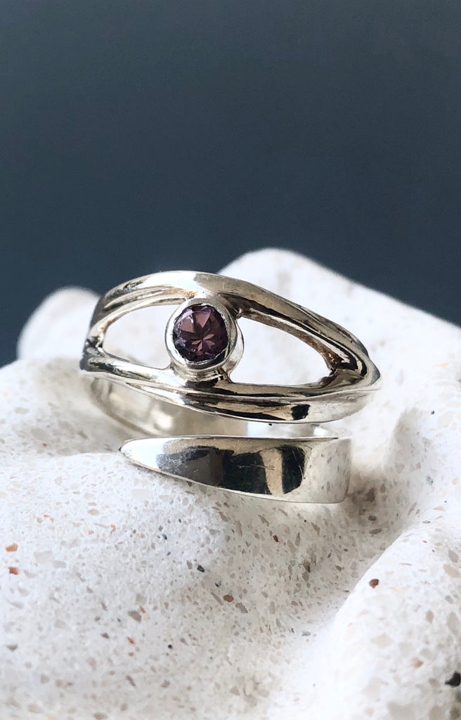 Pink tourmaline silver ring, October birthstone ring, pink stone ring