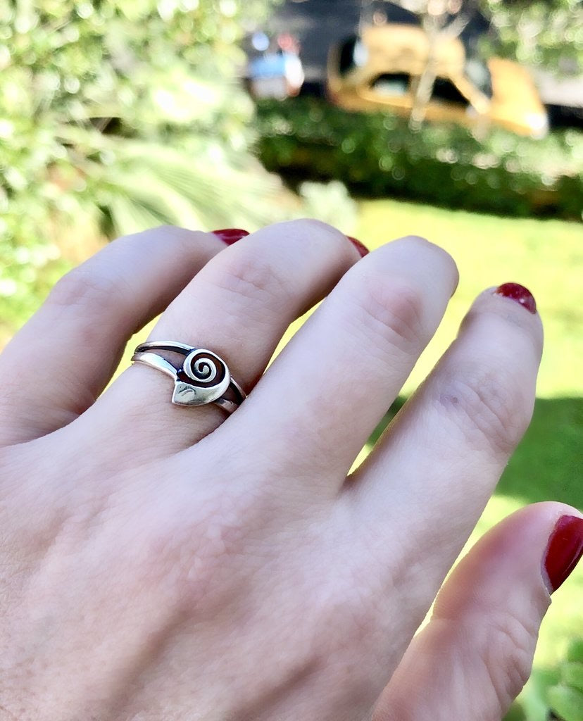 Swirl ring sterling silver ring, Greek ring