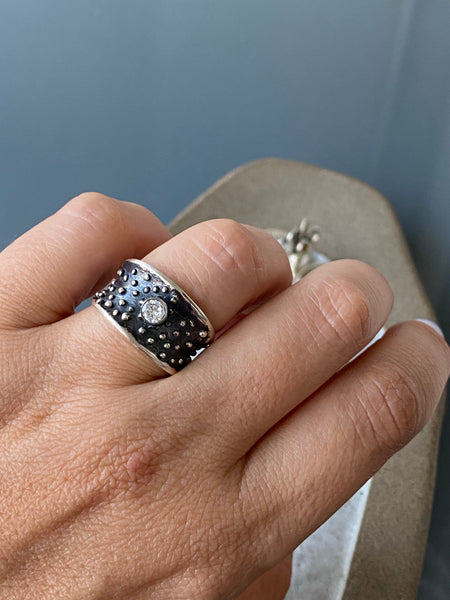 Silver ring gemstone ring, starry night ring