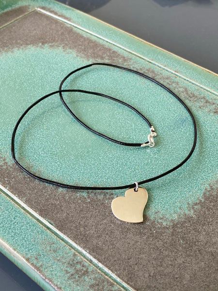 silver heart necklace with leather cord