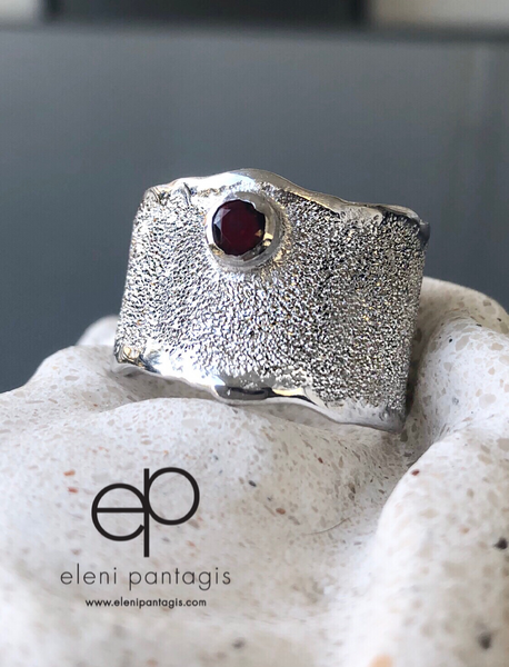 red garnet silver ring, red garnet ring January birthstone ring