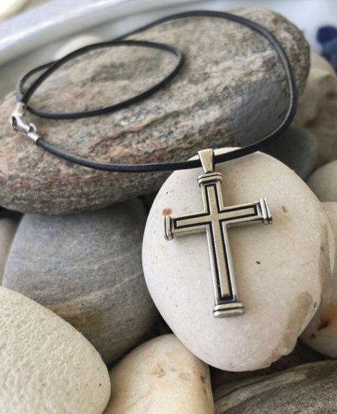 Men's cross necklace, cross leather cord, oxidized silver cross pendant