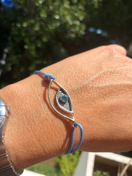 Evil eye bracelet silver, blue topaz gemstone blue nylon cord