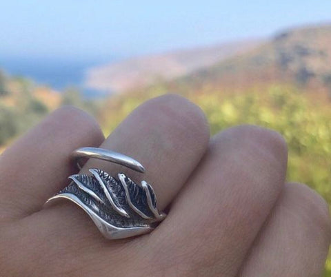 Wing ring silver, angel wing ring