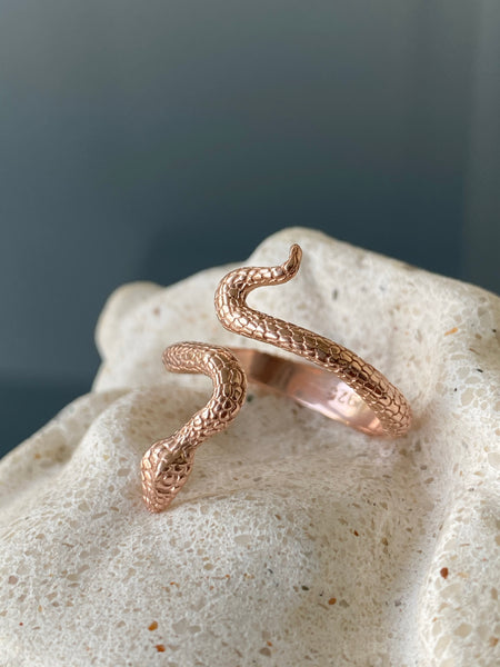 Rose gold snake ring, snake ring, adjustable snake ring