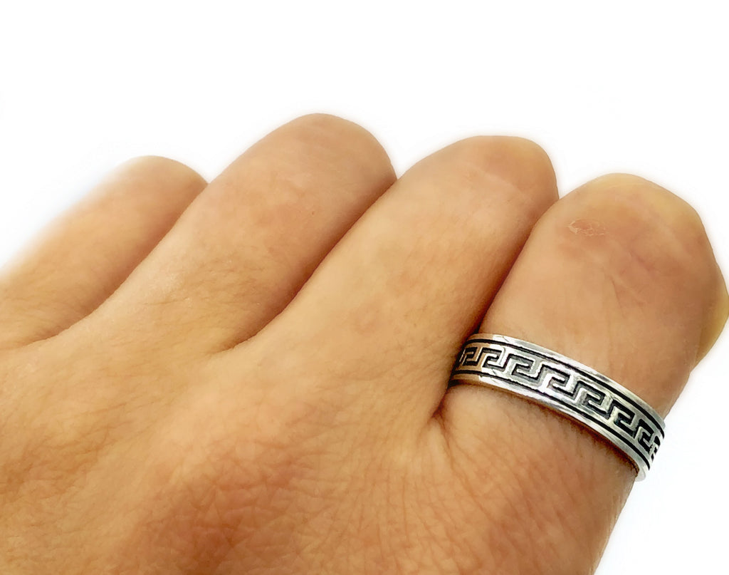 Greek key ring, meander, meandros, sterling silver ring wedding band
