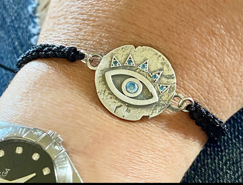 Evil eye bracelet, blue gemstone evil eye bracelet silver
