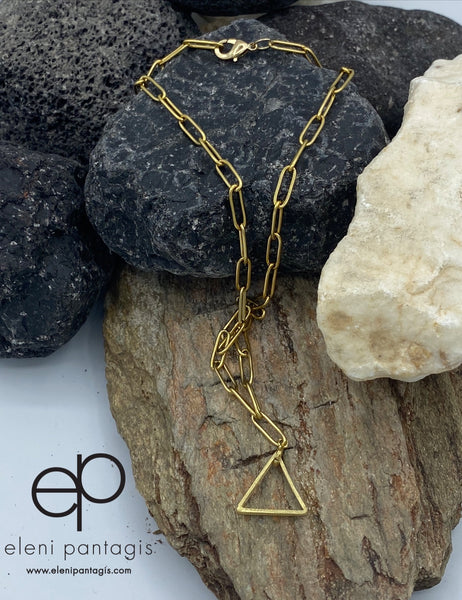 Gold triangle necklace paper clip chain choker gold