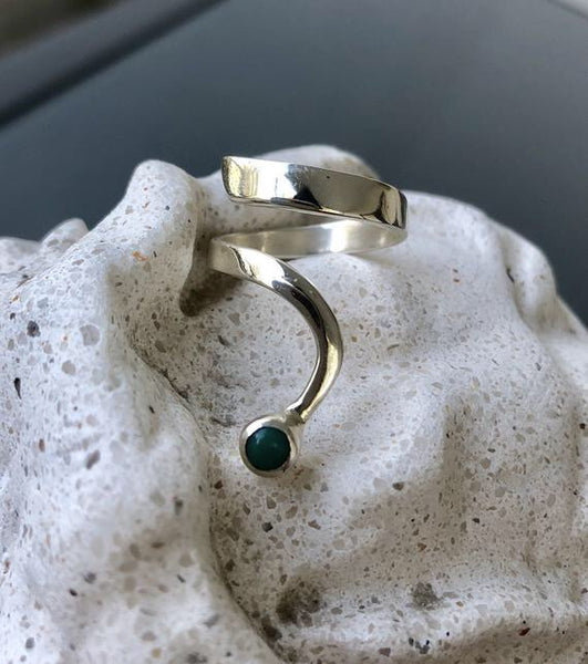 contemporary turquoise silver wave ring, turquoise ring, blue-green stone silver ring