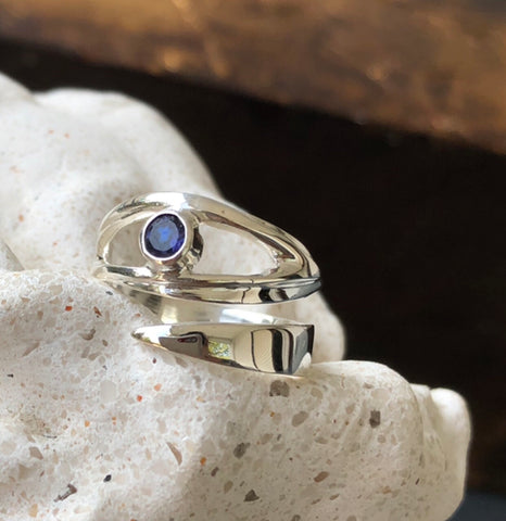 evil eye ring, iolite ring silver adjustable ring
