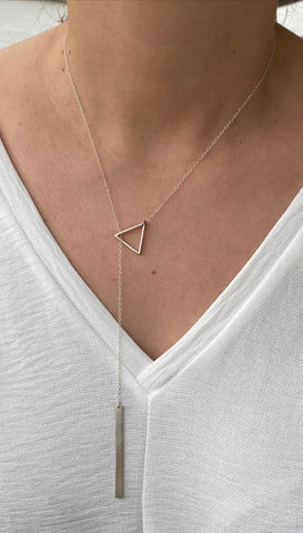 Triangle Lariat necklace silver triangle with rectangle
