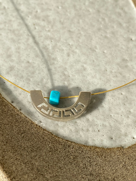 Greek key necklace with turquoise on a stainless steel wire