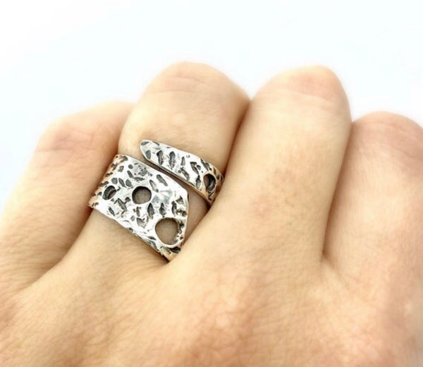 Wide spiral ring silver, adjustable silver ring handmade