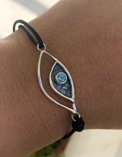 Evil eye bracelet, evil eye jewelry with blue topaz stone, evil eye bracelet