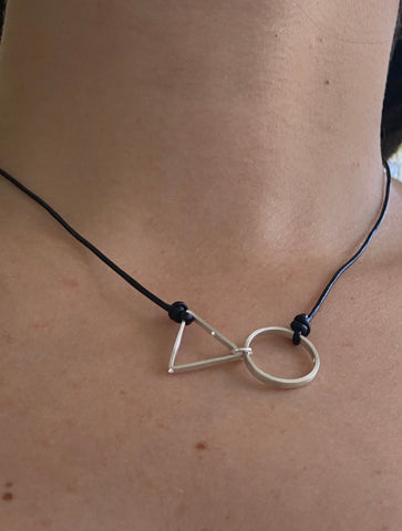 Silver Circle and Triangle necklace black leather