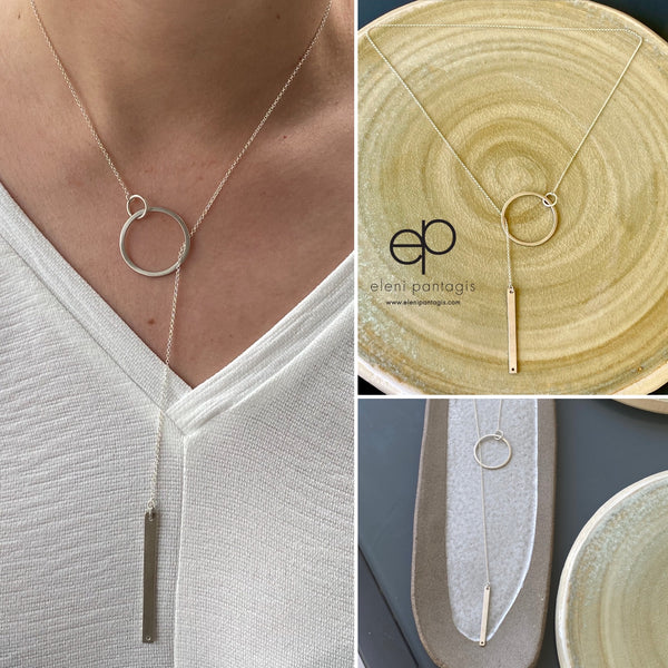 Lariat necklace circle and bar silver necklace
