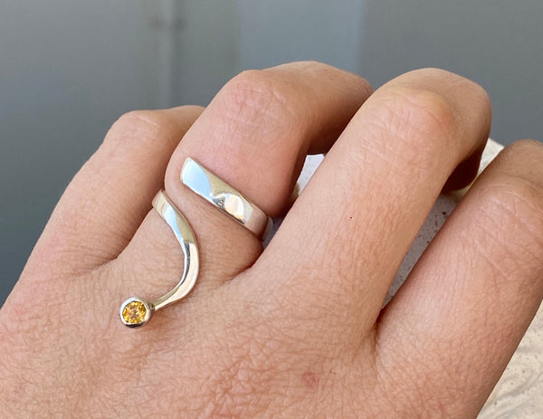 citrine silver wave ring, citrine ring, November birthstone silver ring