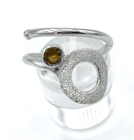 circle ring, Citrine silver ring adjustable November birthstone yellow stone ring - Handmade with love from Greece